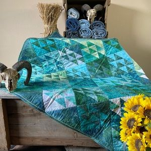 """Homemade Triangles Quilt 43.25"""" x 54"""""""